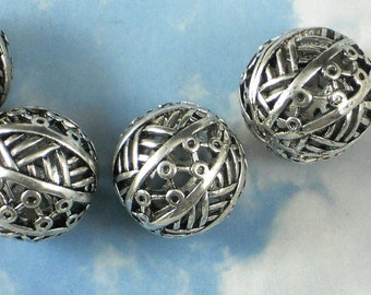 4 Modern Circles & Lines Beads Antiqued Silver 25mm Hollow For Handfasting Cord (P710)