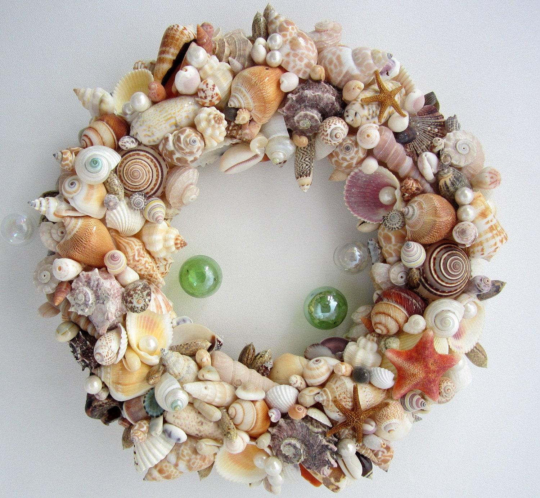 Beach decor seashell wreath nautical decor by for Seashell decor