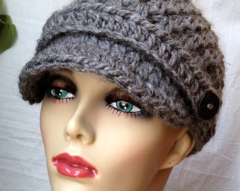 Crochet Womens Hat, Newsboy, Charcoal, Very Soft Chunky, Warm. Teens, Winter, Ski Hat, Birthday Gifts, Gifts for Her, JE407N4