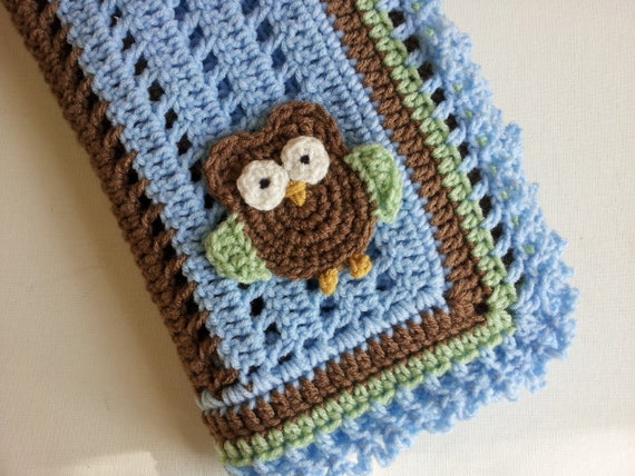 Crochet Owl Baby Blanket in Blue, Brown and Green - Handmade Blanket ...