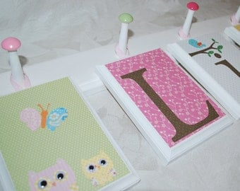 "Set of 6, 5"" x 7"" Hanging Wood Wall Letters on a wood peg hanger . Lily . M2M Pottery Barn Kids Hayley"