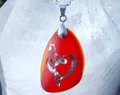 Music lover's Heart - Lollipop Red and Fiery Orange Sea Glass Pendant - castastone