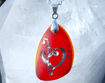Music lover's Heart - engraved and colorful Sea Glass Pendant