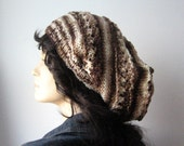 Big Slouchy Hat, Lace Knit Slouchy Hat, The Stacey Hat, Vegan Knits, Womens Accessories, Brown Knit Hat