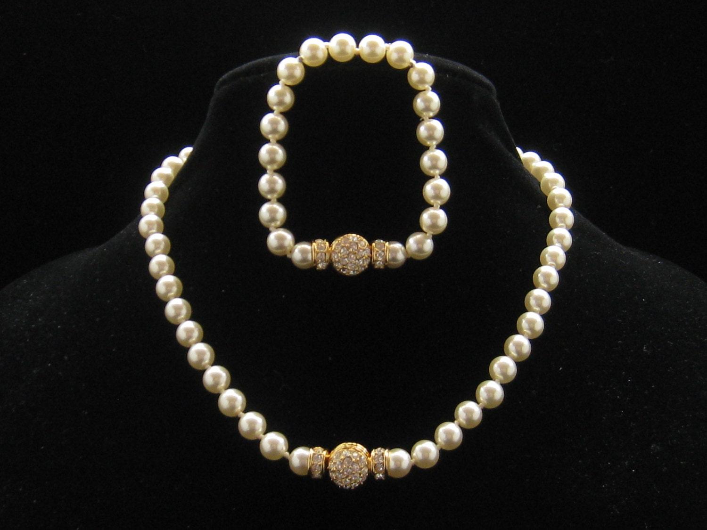 nolan miller wedding rhinestone pearl necklace by