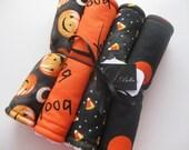 "Baby Burp Cloth Set of 4 ""The Jolly Pumpkin"" Halloween Gender Neutral Boy Girl Holiday"