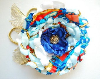 royal blue red gold flower, satin flower, corsage, fascinator, flower for sash, beach weddings accessories, bridal hair clip,bridesmaids