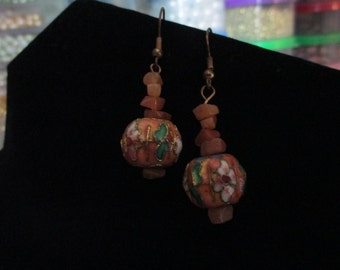 Earrings - Cloisonne and Gem Chip