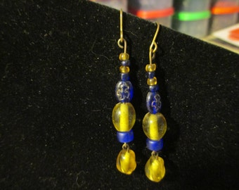 Earrings - Blue and Yellow with Doves