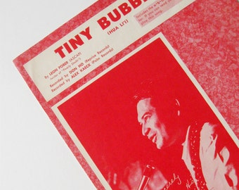 Vintage Sheet Music Tiny Bubbles Don Ho Hua Lii Red 1960s
