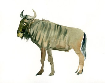 GNU  Original watercolor painting 10X8inch