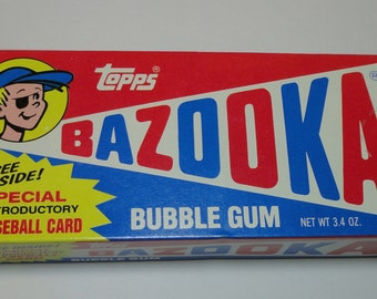 1980's Bazooka Bubble Gum by Topps. Full box with Baseball card