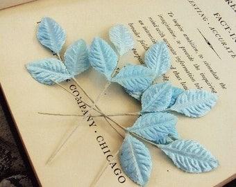 Vintage Mid Century Millinery Leaves Leaf French Powder Blue