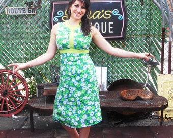 Vintage 1960s Floral Green and Blue Party Dress Mad Men Playful Summer Daisy Day Dress by Lord and Taylor S/M
