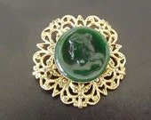 Vintage Cameo Brooch Green Freirich Designer Signed Costume Jewelry Victorian Style
