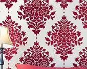 Wall Stencil Damask Rose - Reusable stencils better than wallpaper -DIY decor