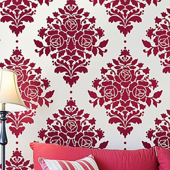 Rose Damask Wall Stencil - Reusable Stencils for Walls - Better Than Wallpaper - DIY Decor