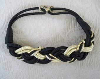 Vintage Accessory Belt Women's  Black and Gold  Braided Belt