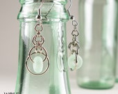 Eco Friendly Recycled Glass Bead Chandelier Earrings Eclipse Drop Faux Seaglass
