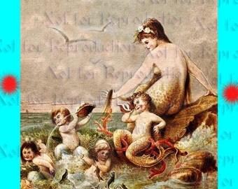 s172 MERMAIDS FABRIC Mother  Mermaid Vintage Print Cotton Fabric Block Panel Applique for Quilt.