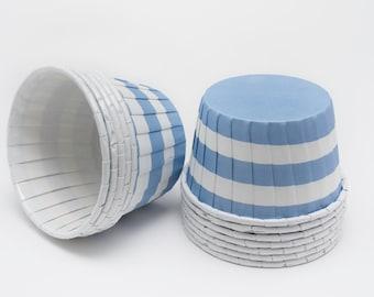 Polka Dot Nut or Portion Paper Baking Cups - Blue Horizontal Stripes - set of 24