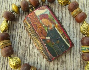 Vintage Icon Pendant Necklace with Old Tibetan Beads