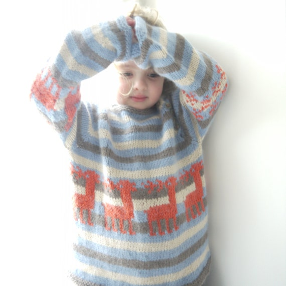 SALE Sweater - 30% off - was 138 AUD - Reindeer and Snowflake - super soft - size 5-7 years