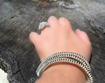 Gunmetal Chain Bracelet Leather Crystal stacks  Metallic Fashion Leather ball chain Bracelet Hand woven Bracelet Boho chic stack