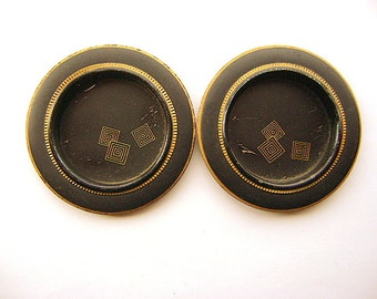 Vintage Japanese Door Pulls- Vintage Door Pulls - Sliding Door  Pulls  - Traditional Japanese - Black And Gold -  Silver Set AB