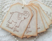 Thank You Elephant Tags Baby Shower or Birthday Its a Boy or Girl Hang Tags Set of 6