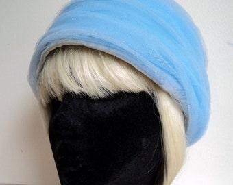 Vintage 1960's Hat //  Blue Tulle Mesh Turban Hat // Bucket Hat