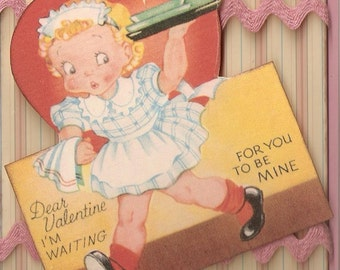 Retro Looking Valentine Card--Waitress