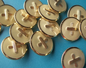 METAL BUTTONS Tan & Gold 50 size 36 about one inch diameter Tiger Button Co Inc