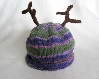 READY TO SHIP Knit Purple Camo Baby Hat with Antlers