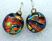 Dichroic Fused Glass Earrings in Fiery Orange Tangerine Tango, Dangle, Wire, Drop