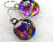 Dichroic Fused Glass Earrings Sparkling Magenta Ripple, Dangle, Wire, Drop