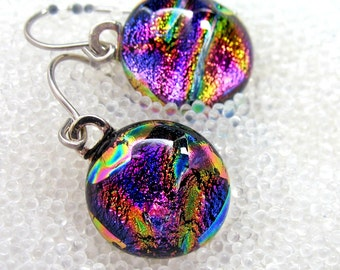 Dichroic Fused Glass Earrings Sparkling Magenta Ripple , Dangle, Wire, Drop