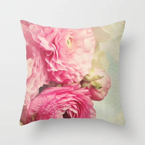 "Shabby chic home decor ""Bloom"" pink Ranunculus 18x18 or 22x22 pillow,cottage decor,floral pillow,pink, pastel pillow,flowers"