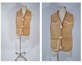 vintage hand made leather shearling VEST sherpa hippie boho hobo custom