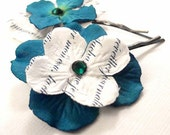 Teal & White Paper Flower Hairpins