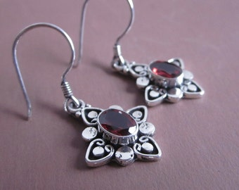 Bali Sterling Silver Garnet Dangle Earrings / 1.35 inch long / silver 925 /  Balinese handmade jewelry