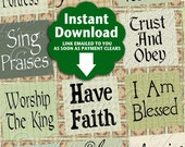 Expressions Of The Christian / Faith Christian Phrases Religious - Printable INSTANT DOWNLOAD 1x1 Inch Squares Digital JPG Collage Sheet