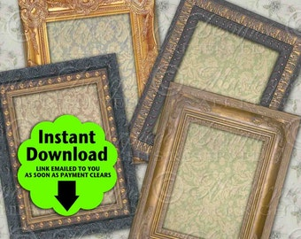 Antique Frames Tags / Jewelry Cards / Add Your Own Text - Printable 2.5x3.5 inch Designs, Hang Tags, Download and Print Digital Sheet