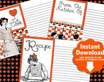 Recipe Cards Vintage / Cook / Cookbook / Cooking / Kitchen -  Printable INSTANT DOWNLOAD and Print Digital Sheet