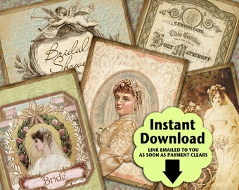 Victorian Bridal Printable Hang Tags / Gift Tags / Bride / Wedding / Bridal Shower / Marriage  - Printable Instant Download Collage Sheet