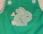 Shortall John John,  size 12 months/1T with Bunny Rabbit Applique .  Ready to Ship.