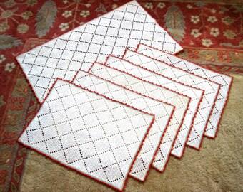 PLACEMAT Table Set 6 MATS Vintage Hand Crocheted Lace Rainbow Edges & Centerpiece RUNNER