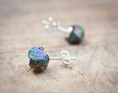 Druzy Stud Earrings Titanium Peacock raw rainbow Post studs Urban Minimalist Geometric Jewelry organic
