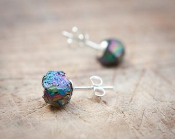 Druzy Stud Earrings Titanium Peacock rainbow Post studs Urban Minimalist Geometric Jewelry organic