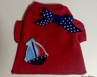 Sail Away Boat Dog TShirt Clothes by Doogie Couture Size XXXS through Medium
